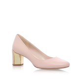 Franny - predominant colour: blush; occasions: evening, occasion, creative work; material: leather; heel height: mid; heel: block; toe: round toe; style: courts; finish: plain; pattern: plain; wardrobe: investment; season: a/w 2016