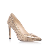 Tatiana - predominant colour: gold; occasions: evening, work, occasion, creative work; material: faux leather; heel: stiletto; toe: pointed toe; style: courts; finish: metallic; pattern: animal print; heel height: very high; season: a/w 2016; wardrobe: highlight