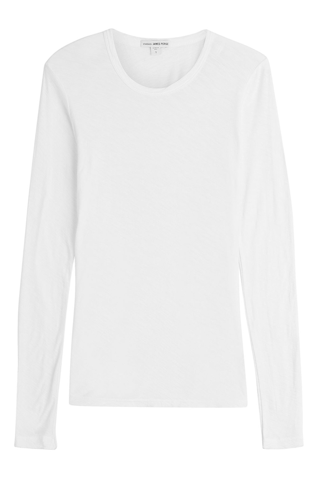 Long Sleeved Cotton Top - pattern: plain; predominant colour: white; occasions: casual; length: standard; style: top; fibres: cotton - 100%; fit: body skimming; neckline: crew; sleeve length: long sleeve; sleeve style: standard; pattern type: fabric; texture group: jersey - stretchy/drapey; wardrobe: basic; season: a/w 2016