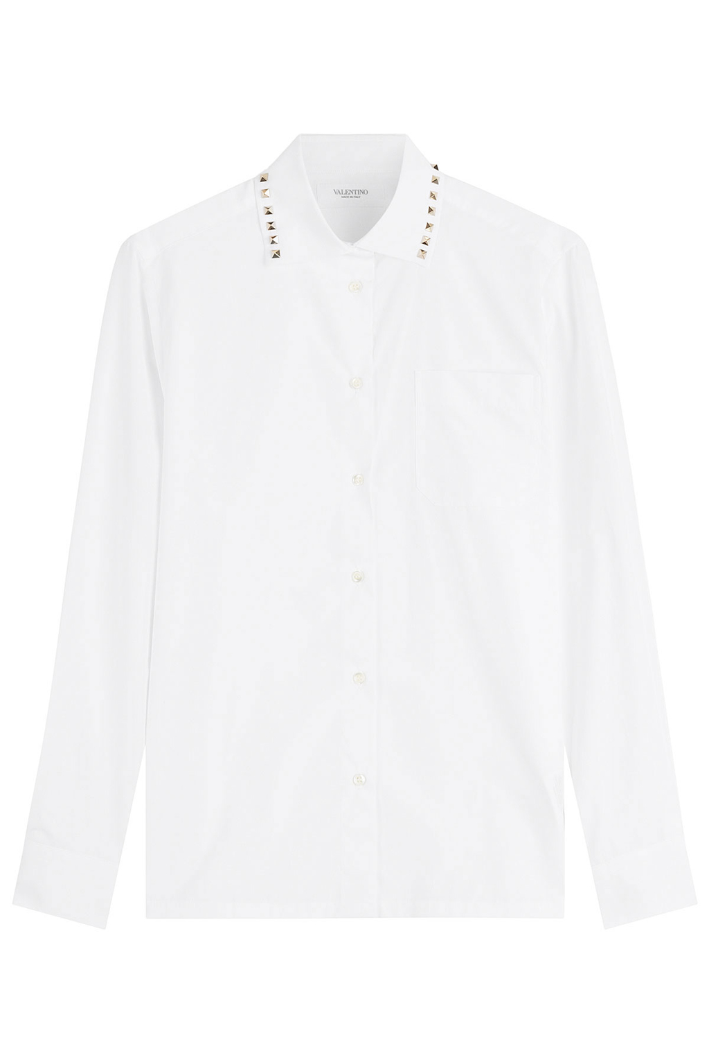 Rockstud Cotton Shirt - neckline: shirt collar/peter pan/zip with opening; pattern: plain; style: shirt; predominant colour: white; occasions: work; length: standard; fibres: cotton - 100%; fit: body skimming; sleeve length: long sleeve; sleeve style: standard; texture group: cotton feel fabrics; pattern type: fabric; embellishment: studs; season: a/w 2016; wardrobe: highlight; embellishment location: neck