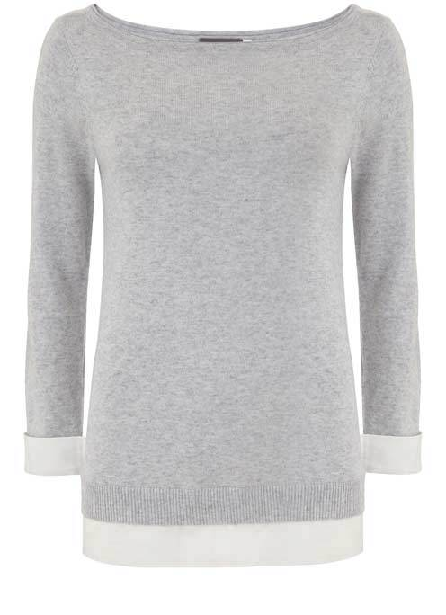 Silver Grey Layered Knit - neckline: round neck; pattern: plain; style: standard; secondary colour: white; predominant colour: light grey; occasions: casual; length: standard; fit: slim fit; sleeve length: 3/4 length; sleeve style: standard; texture group: knits/crochet; pattern type: fabric; fibres: cashmere - mix; multicoloured: multicoloured; wardrobe: investment; season: a/w 2016