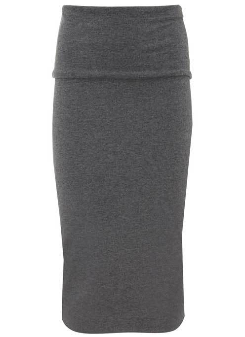 Granite Fold Over Tube Midi Skirt - length: below the knee; pattern: plain; style: pencil; fit: body skimming; waist: high rise; predominant colour: mid grey; occasions: casual, creative work; fibres: cotton - stretch; texture group: knits/crochet; pattern type: knitted - fine stitch; wardrobe: basic; season: a/w 2016