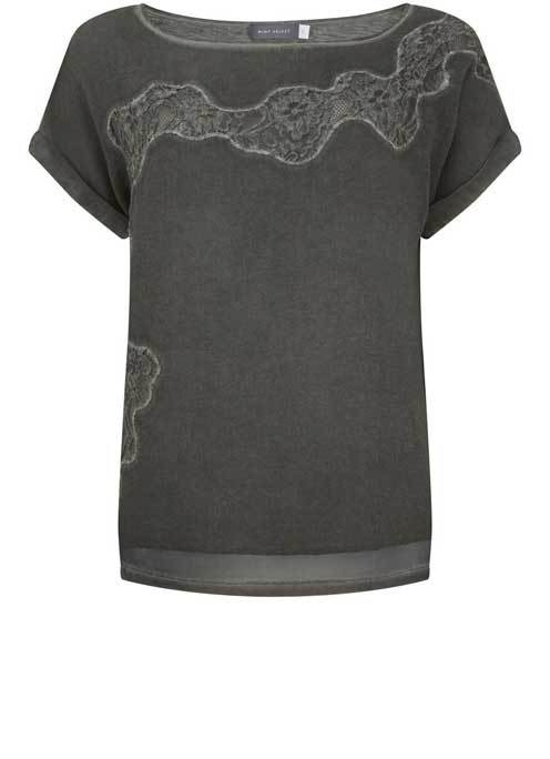 Khaki Lace Overdye Tee - neckline: round neck; pattern: plain; predominant colour: khaki; occasions: evening; length: standard; style: top; fibres: polyester/polyamide - 100%; fit: body skimming; sleeve length: short sleeve; sleeve style: standard; texture group: sheer fabrics/chiffon/organza etc.; pattern type: fabric; embellishment: lace; season: a/w 2016; wardrobe: event
