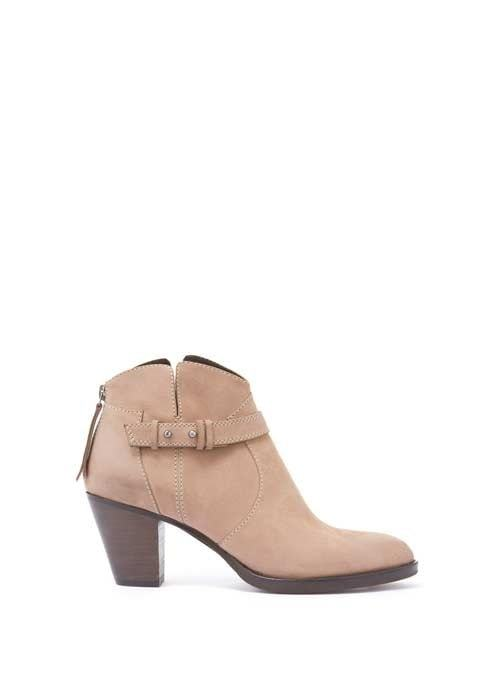 Sand Esmee Nubuck Stitch Detail Ankle Boot - predominant colour: nude; occasions: casual; material: leather; heel height: mid; embellishment: buckles; heel: block; toe: pointed toe; boot length: ankle boot; style: standard; finish: plain; pattern: plain; wardrobe: basic; season: a/w 2016