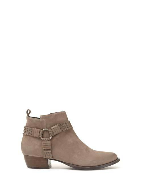 Taupe Betty Studded Ankle Boot - predominant colour: mid grey; occasions: casual; material: suede; heel height: mid; heel: block; toe: round toe; boot length: ankle boot; style: standard; finish: plain; pattern: plain; wardrobe: basic; season: a/w 2016