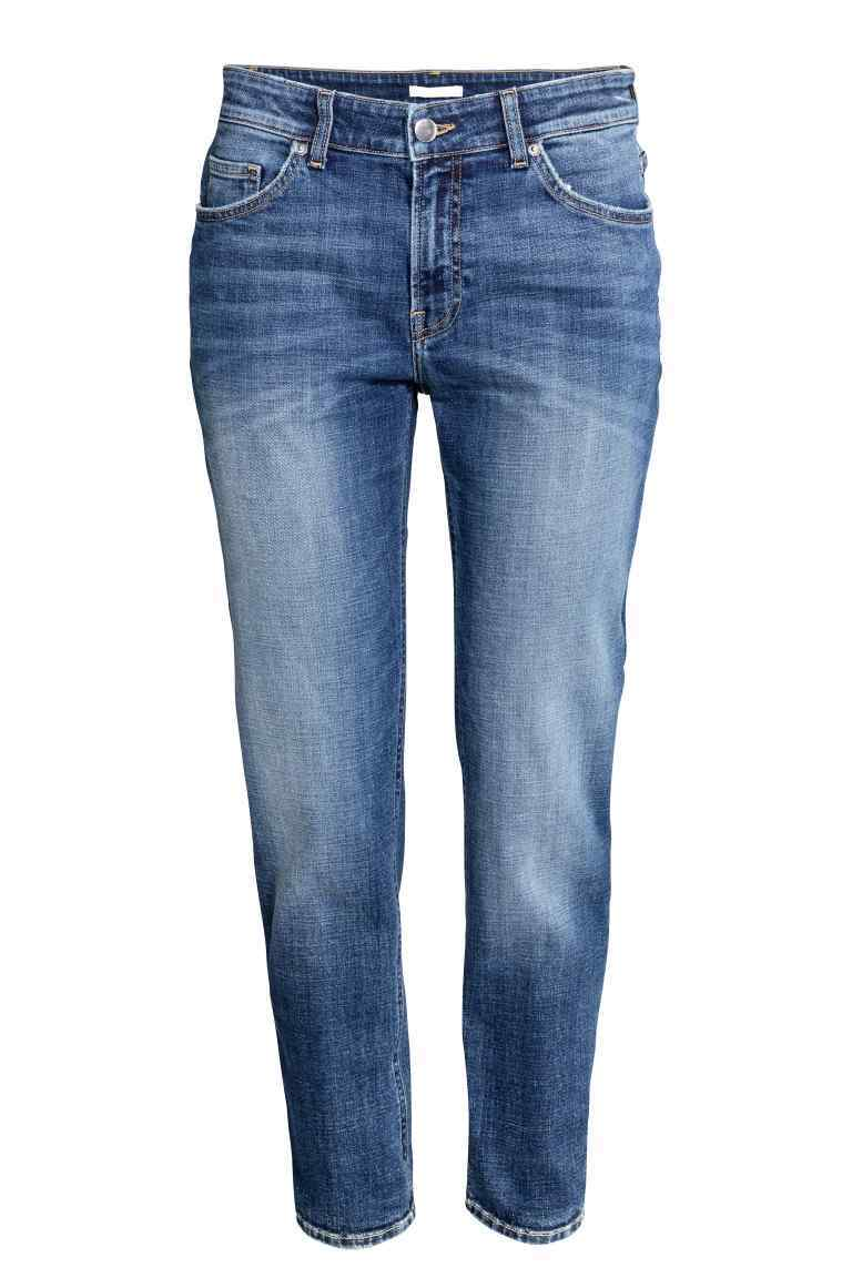 Girlfriend Jeans - style: boyfriend; length: standard; pattern: plain; waist: mid/regular rise; predominant colour: denim; occasions: casual; fibres: cotton - stretch; jeans detail: whiskering, shading down centre of thigh; texture group: denim; pattern type: fabric; season: a/w 2016