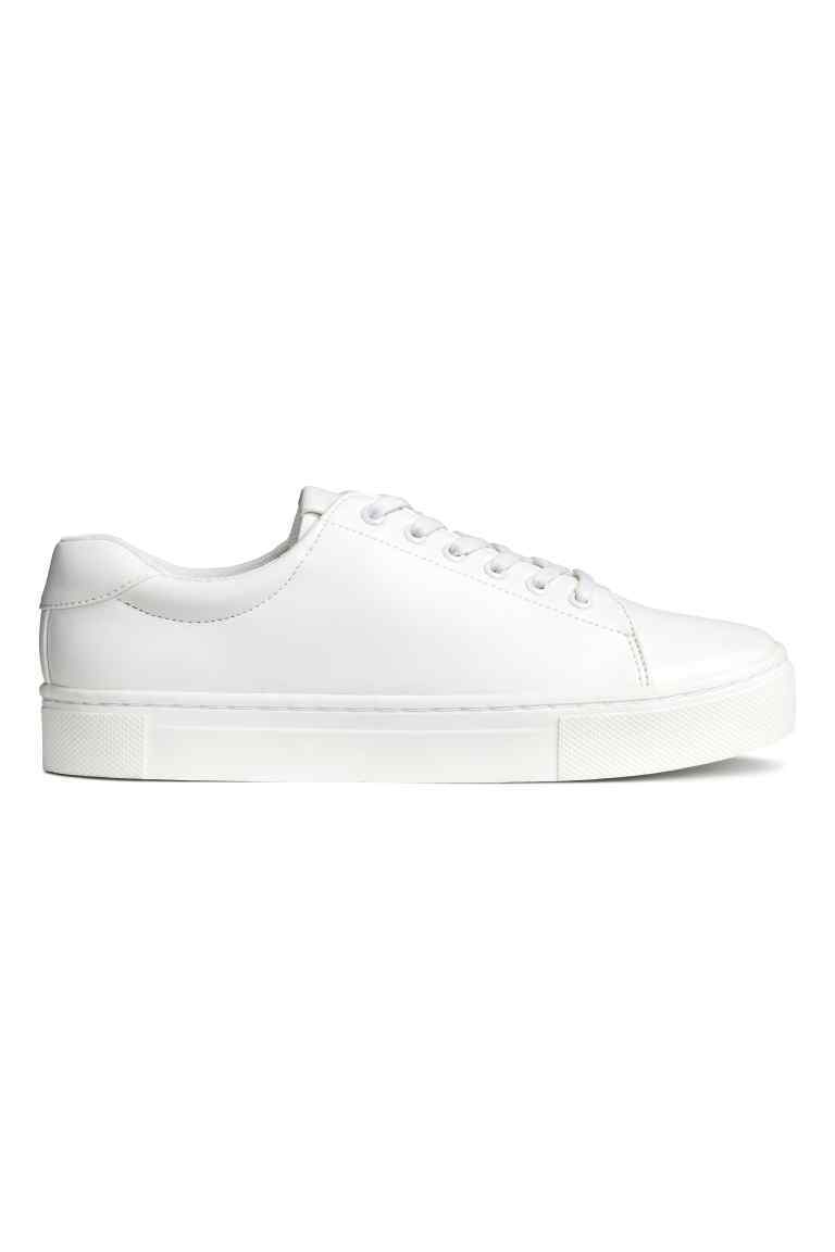 Trainers - predominant colour: white; occasions: casual; material: leather; heel height: flat; toe: round toe; style: trainers; finish: plain; pattern: plain; shoe detail: moulded soul; season: a/w 2016; wardrobe: highlight
