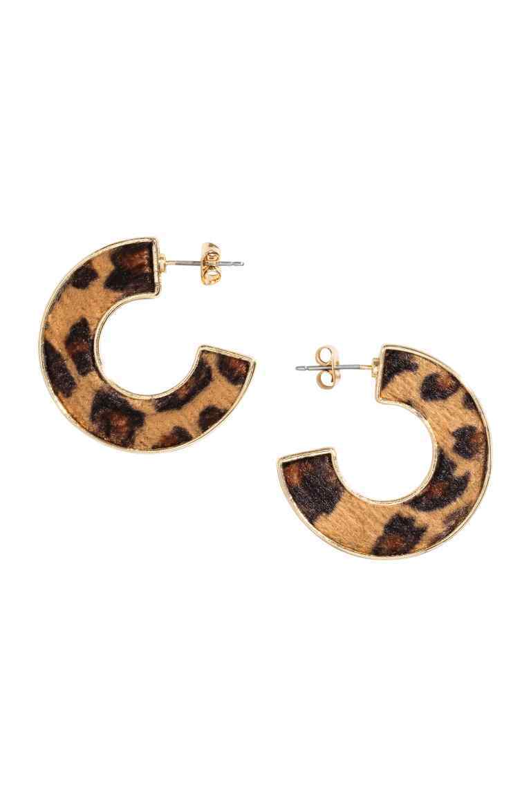 Leopard Print Earrings - secondary colour: chocolate brown; predominant colour: camel; style: hoop; length: short; size: standard; material: plastic/rubber; fastening: pierced; finish: plain; occasions: creative work; season: a/w 2016; wardrobe: highlight