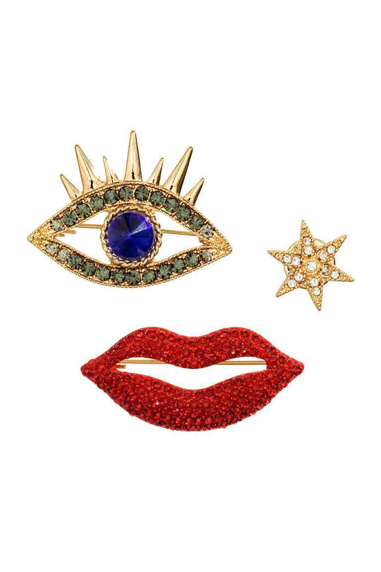 3 Pack Brooches - secondary colour: true red; predominant colour: gold; occasions: evening, occasion; style: classic; size: standard; material: chain/metal; finish: metallic; embellishment: jewels/stone; season: a/w 2016