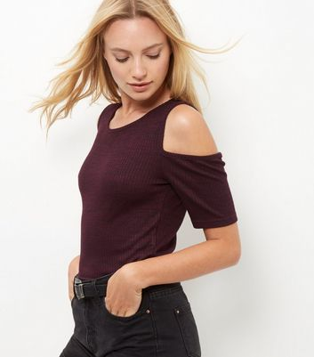 Burgundy Fine Knit Cold Shoulder Top - neckline: round neck; pattern: plain; predominant colour: burgundy; occasions: casual; length: standard; style: top; fit: body skimming; shoulder detail: cut out shoulder; sleeve length: short sleeve; sleeve style: standard; pattern type: fabric; texture group: jersey - stretchy/drapey; fibres: viscose/rayon - mix; season: a/w 2016