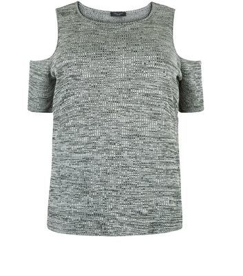 Curves Grey Ribbed Cold Shoulder Top - pattern: plain; predominant colour: mid grey; occasions: casual; length: standard; style: top; fit: body skimming; neckline: crew; shoulder detail: cut out shoulder; back detail: longer hem at back than at front; sleeve length: short sleeve; sleeve style: standard; pattern type: fabric; texture group: jersey - stretchy/drapey; fibres: viscose/rayon - mix; season: a/w 2016; wardrobe: highlight