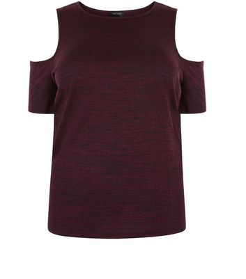 Curves Burgundy Ribbed Cold Shoulder Top - pattern: plain; predominant colour: burgundy; occasions: casual; length: standard; style: top; fibres: polyester/polyamide - mix; fit: body skimming; neckline: crew; shoulder detail: cut out shoulder; back detail: longer hem at back than at front; sleeve length: short sleeve; sleeve style: standard; pattern type: fabric; texture group: jersey - stretchy/drapey; season: a/w 2016; wardrobe: highlight