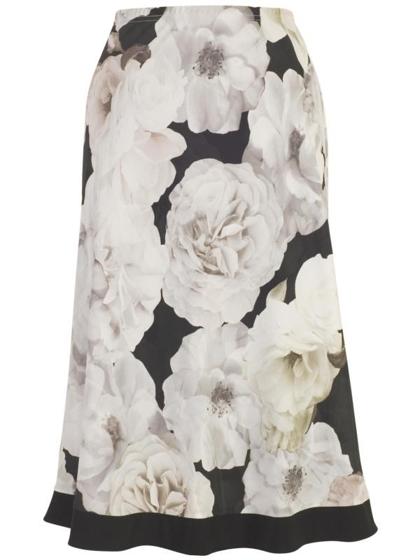 Blush Contrast Trim Rose Print Skirt - length: below the knee; fit: loose/voluminous; waist: mid/regular rise; secondary colour: light grey; predominant colour: black; occasions: evening; style: a-line; fibres: polyester/polyamide - 100%; trends: monochrome; texture group: sheer fabrics/chiffon/organza etc.; pattern type: fabric; pattern: florals; pattern size: big & busy (bottom); multicoloured: multicoloured; season: a/w 2016; wardrobe: event