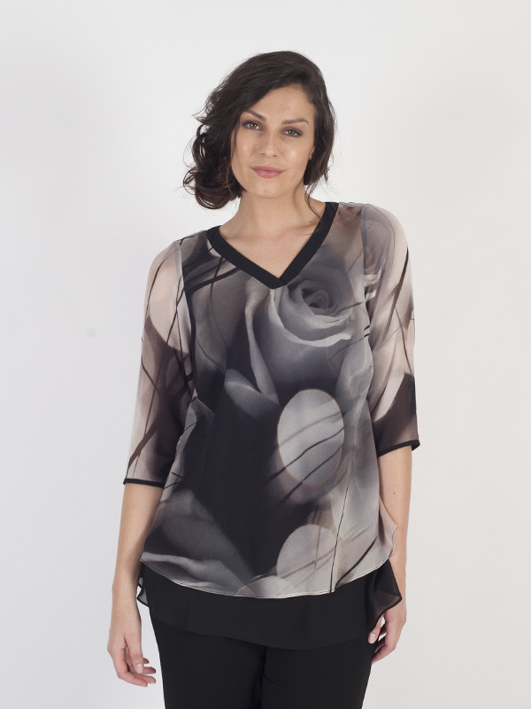Blk/Apricot/Nude Misty Rose Black Layered Trim Tunic - neckline: v-neck; predominant colour: charcoal; secondary colour: light grey; occasions: evening; length: standard; style: top; fibres: polyester/polyamide - 100%; fit: loose; sleeve length: 3/4 length; sleeve style: standard; texture group: sheer fabrics/chiffon/organza etc.; pattern type: fabric; pattern: florals; pattern size: big & busy (top); multicoloured: multicoloured; season: a/w 2016; wardrobe: event