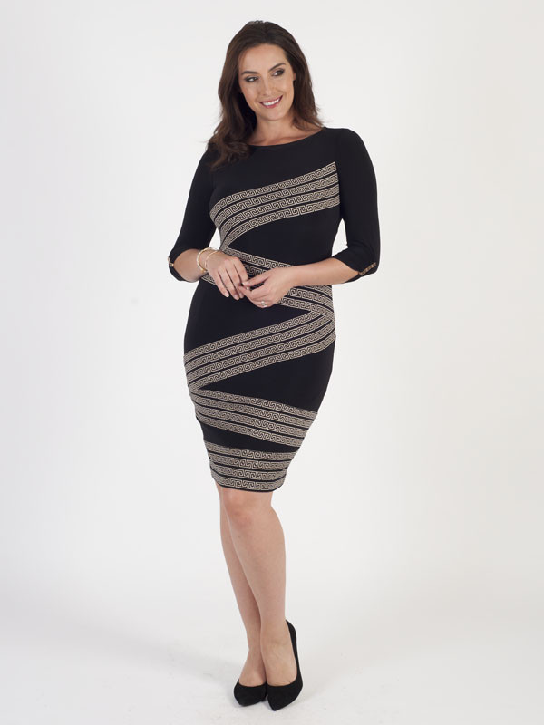 Joseph Ribkoff Greek Printed Dress - fit: tight; style: bodycon; pattern: striped; secondary colour: mid grey; predominant colour: black; occasions: evening; length: just above the knee; fibres: polyester/polyamide - stretch; neckline: crew; sleeve length: 3/4 length; sleeve style: standard; texture group: jersey - clingy; pattern type: fabric; multicoloured: multicoloured; season: a/w 2016; wardrobe: event