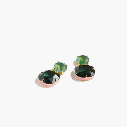 Enamel Edge Earrings - predominant colour: dark green; occasions: evening, occasion; style: stud; length: short; size: standard; material: chain/metal; fastening: pierced; finish: metallic; embellishment: jewels/stone; season: a/w 2016; wardrobe: event