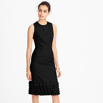Ruffle Hem Dress In Super 120s Wool - style: shift; fit: tailored/fitted; pattern: plain; sleeve style: sleeveless; predominant colour: black; occasions: evening; length: on the knee; fibres: wool - 100%; neckline: crew; sleeve length: sleeveless; hip detail: ruffles/tiers/tie detail at hip; pattern type: fabric; texture group: woven light midweight; season: a/w 2016; wardrobe: event