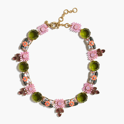 Garden Party Necklace - predominant colour: pink; secondary colour: khaki; occasions: evening, occasion; style: choker/collar/torque; length: choker; size: standard; material: chain/metal; finish: metallic; embellishment: jewels/stone; multicoloured: multicoloured; season: a/w 2016; wardrobe: event