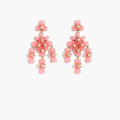 Floral Cascade Earrings - predominant colour: pink; occasions: evening, occasion; style: chandelier; length: long; size: large/oversized; material: chain/metal; fastening: pierced; finish: plain; embellishment: jewels/stone; season: a/w 2016; wardrobe: event