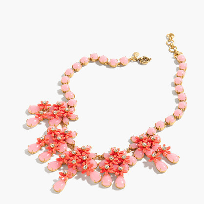 Floral Cascade Necklace - predominant colour: pink; secondary colour: bright orange; occasions: evening, occasion; length: mid; size: large/oversized; material: chain/metal; finish: plain; embellishment: jewels/stone; style: bib/statement; multicoloured: multicoloured; season: a/w 2016; wardrobe: event