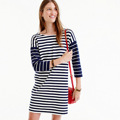 Colorblock Stripe Ponte Dress - style: shift; length: mid thigh; neckline: round neck; pattern: horizontal stripes; predominant colour: white; secondary colour: navy; occasions: casual; fit: body skimming; fibres: cotton - 100%; sleeve length: 3/4 length; sleeve style: standard; pattern type: fabric; texture group: jersey - stretchy/drapey; multicoloured: multicoloured; trends: graphic stripes; wardrobe: basic; season: a/w 2016