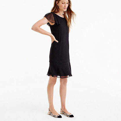 Ruffled Dress In Textured Clip Dot - style: shift; neckline: round neck; pattern: plain; predominant colour: black; occasions: evening; length: just above the knee; fit: body skimming; fibres: silk - mix; sleeve length: short sleeve; sleeve style: standard; pattern type: fabric; texture group: woven light midweight; embellishment: lace; shoulder detail: sheer at shoulder; season: a/w 2016; wardrobe: event