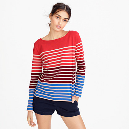 Multistripe T Shirt - pattern: horizontal stripes; style: t-shirt; secondary colour: white; predominant colour: true red; occasions: casual; length: standard; fibres: cotton - 100%; fit: body skimming; neckline: crew; sleeve length: long sleeve; sleeve style: standard; pattern type: fabric; texture group: jersey - stretchy/drapey; multicoloured: multicoloured; season: a/w 2016