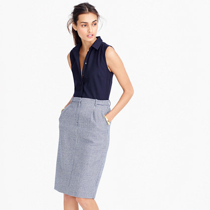 Two Piece Shirtdress In Microhoundstooth - style: shirt; neckline: shirt collar/peter pan/zip with opening; fit: tailored/fitted; pattern: plain; sleeve style: sleeveless; predominant colour: navy; secondary colour: light grey; occasions: work, creative work; length: on the knee; fibres: wool - mix; sleeve length: sleeveless; pattern type: fabric; texture group: woven light midweight; multicoloured: multicoloured; wardrobe: investment; season: a/w 2016
