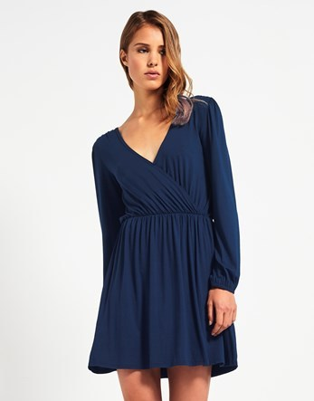 Long Sleeve Wrap Dress - style: faux wrap/wrap; length: mid thigh; neckline: v-neck; pattern: plain; predominant colour: navy; occasions: evening; fit: body skimming; fibres: viscose/rayon - stretch; sleeve length: long sleeve; sleeve style: standard; pattern type: fabric; texture group: other - light to midweight; season: a/w 2016; wardrobe: event