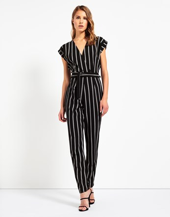 Striped Wrap Front Jumpsuit - length: standard; neckline: v-neck; sleeve style: capped; pattern: vertical stripes; waist detail: belted waist/tie at waist/drawstring; secondary colour: white; predominant colour: black; occasions: evening; fit: body skimming; fibres: polyester/polyamide - stretch; sleeve length: short sleeve; trends: monochrome; texture group: crepes; style: jumpsuit; pattern type: fabric; multicoloured: multicoloured; season: a/w 2016