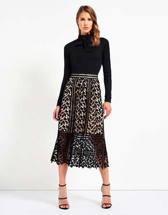 Corded Lace Midi Skirt - length: calf length; pattern: plain; fit: loose/voluminous; waist: mid/regular rise; predominant colour: black; occasions: evening; style: a-line; fibres: polyester/polyamide - 100%; texture group: lace; pattern type: fabric; embellishment: lace; season: a/w 2016; wardrobe: event