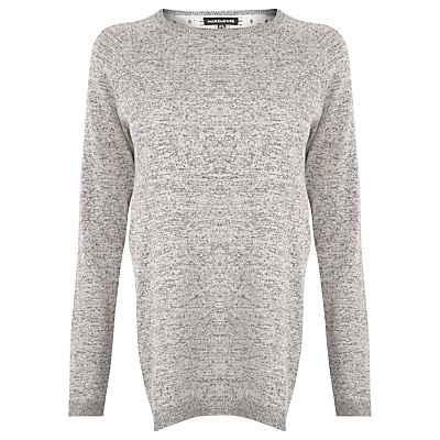 Mixed Fabric Jumper, Light Grey - neckline: round neck; pattern: plain; length: below the bottom; style: standard; predominant colour: light grey; occasions: casual, creative work; fibres: cotton - 100%; fit: loose; sleeve length: long sleeve; sleeve style: standard; texture group: knits/crochet; pattern type: knitted - fine stitch; wardrobe: basic; season: a/w 2016