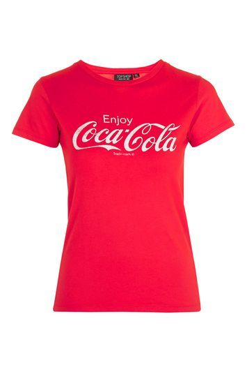 Coca Cola T Shirt - neckline: round neck; style: t-shirt; secondary colour: white; predominant colour: true red; occasions: casual, holiday; length: standard; fibres: cotton - 100%; fit: body skimming; sleeve length: short sleeve; sleeve style: standard; pattern type: fabric; pattern size: standard; texture group: jersey - stretchy/drapey; pattern: graphic/slogan; trends: chic girl, glossy girl, tomboy girl; season: a/w 2016; wardrobe: highlight