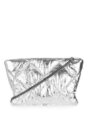 Leather Puff Clutch Bag - predominant colour: silver; occasions: evening; type of pattern: standard; style: clutch; length: across body/long; size: standard; material: leather; embellishment: quilted; pattern: plain; finish: plain; season: a/w 2016; wardrobe: event; trends: metallics