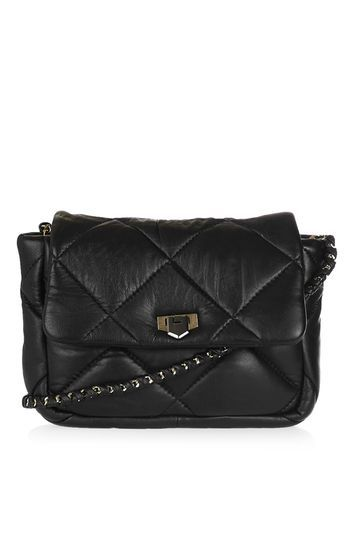 Owen Leather Puff Quilt Crossbody Bag - predominant colour: black; occasions: casual, creative work; type of pattern: standard; style: shoulder; length: across body/long; size: standard; material: leather; embellishment: quilted; pattern: plain; finish: plain; wardrobe: investment; season: a/w 2016