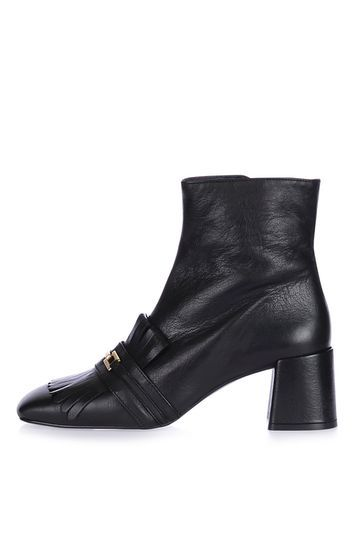 Maximum Fringe Loafer Boots - secondary colour: gold; predominant colour: black; occasions: work, creative work; material: leather; heel height: high; heel: standard; toe: square toe; boot length: ankle boot; style: standard; finish: plain; pattern: plain; embellishment: fringing; season: a/w 2016; wardrobe: highlight