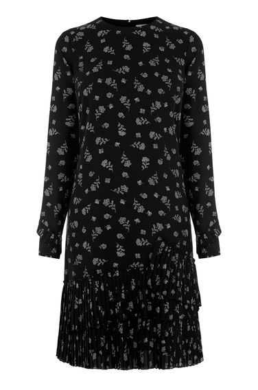 Dotty Floral Pleated Hem Dress - style: shift; secondary colour: mid grey; predominant colour: black; occasions: casual, creative work; length: just above the knee; fit: soft a-line; fibres: polyester/polyamide - 100%; neckline: crew; sleeve length: long sleeve; sleeve style: standard; texture group: crepes; pattern type: fabric; pattern size: light/subtle; pattern: florals; season: a/w 2016; wardrobe: highlight