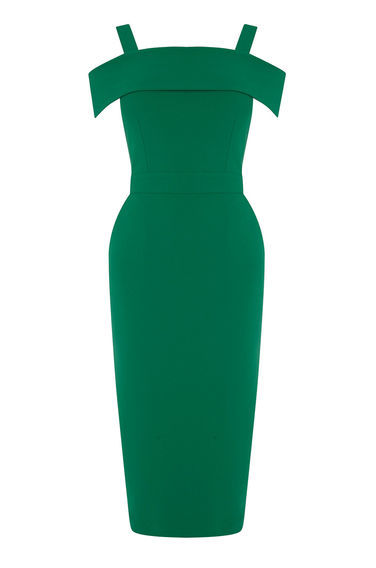 Crepe Off The Shoulder Dress - style: shift; sleeve style: capped; fit: tailored/fitted; pattern: plain; predominant colour: dark green; occasions: evening; length: on the knee; fibres: polyester/polyamide - stretch; shoulder detail: cut out shoulder; sleeve length: short sleeve; texture group: crepes; neckline: medium square neck; pattern type: fabric; season: a/w 2016; wardrobe: event