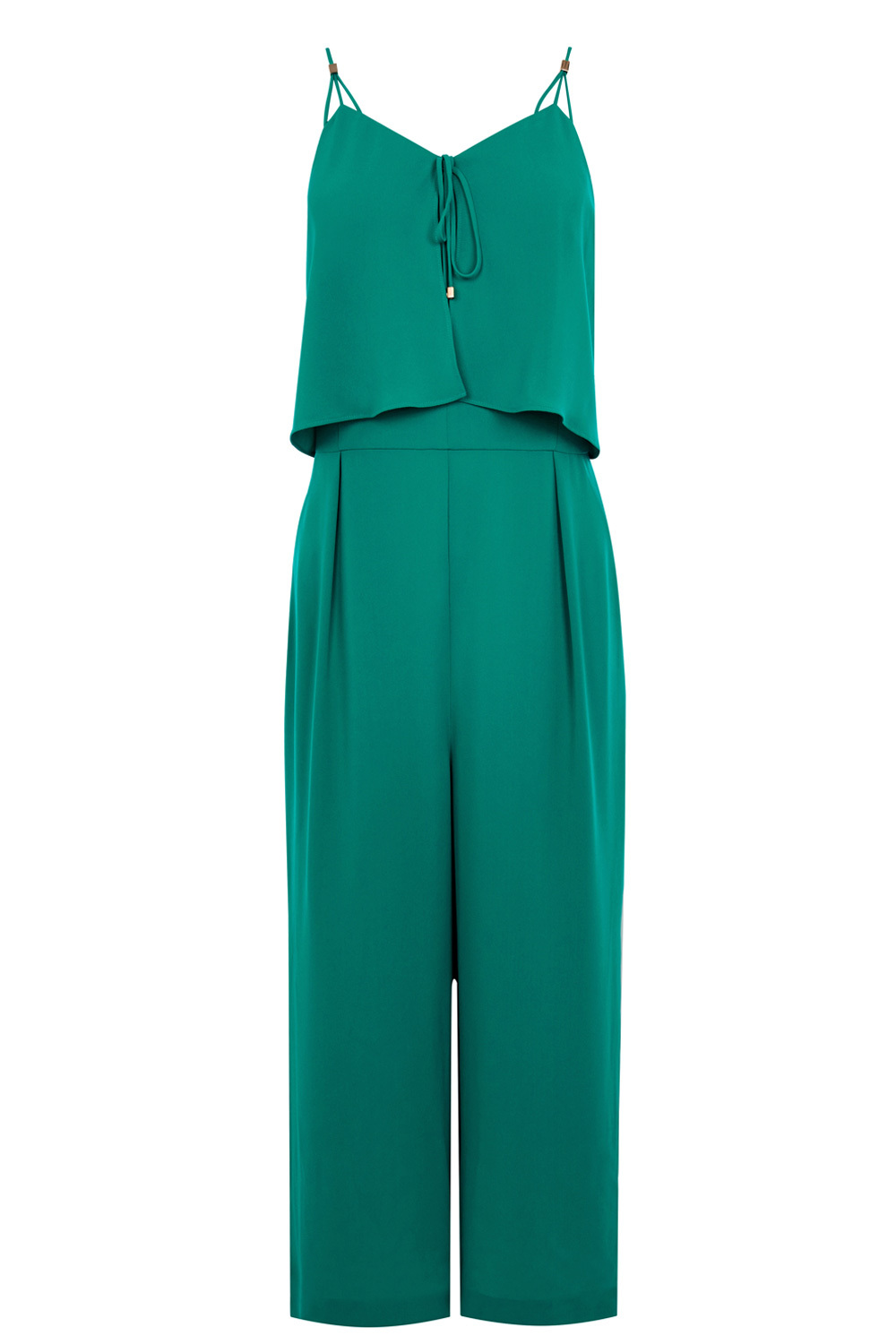 Dustina Jumpsuit - length: standard; neckline: v-neck; sleeve style: spaghetti straps; fit: fitted at waist; pattern: plain; predominant colour: emerald green; occasions: evening, occasion; fibres: polyester/polyamide - 100%; sleeve length: sleeveless; texture group: crepes; style: jumpsuit; pattern type: fabric; season: a/w 2016; wardrobe: event