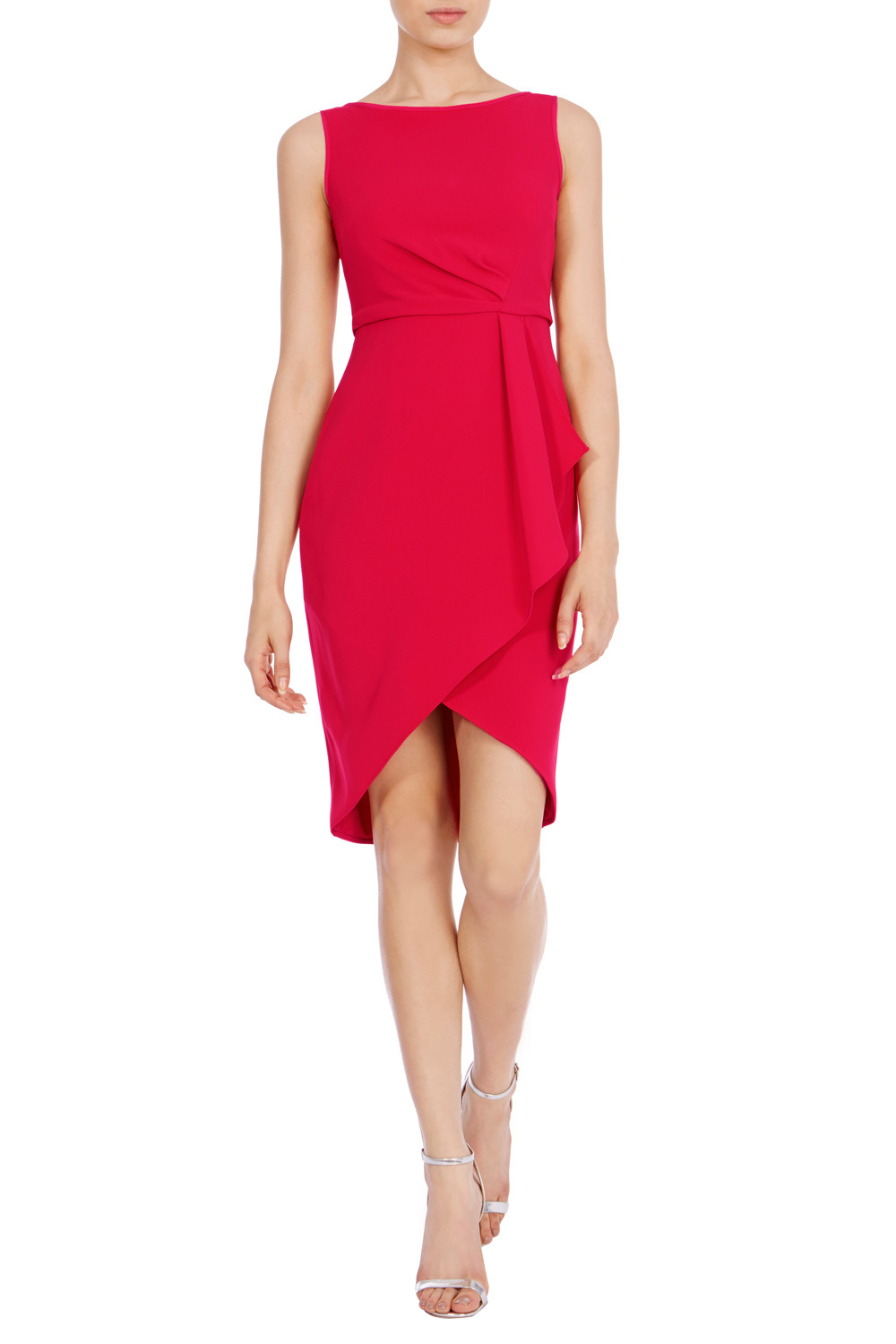 Drew Crepe Dress - style: shift; neckline: slash/boat neckline; fit: tailored/fitted; pattern: plain; sleeve style: sleeveless; predominant colour: true red; occasions: evening; length: just above the knee; fibres: polyester/polyamide - mix; sleeve length: sleeveless; pattern type: fabric; texture group: other - light to midweight; season: a/w 2016; wardrobe: event