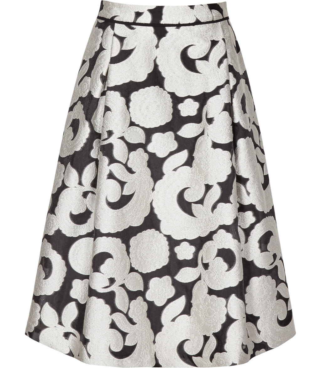 Drew Womens Jacquard Midi Skirt In Black - style: full/prom skirt; fit: loose/voluminous; waist: high rise; secondary colour: ivory/cream; predominant colour: black; length: on the knee; fibres: silk - 100%; occasions: occasion; texture group: structured shiny - satin/tafetta/silk etc.; pattern type: fabric; pattern: florals; season: a/w 2016; wardrobe: event