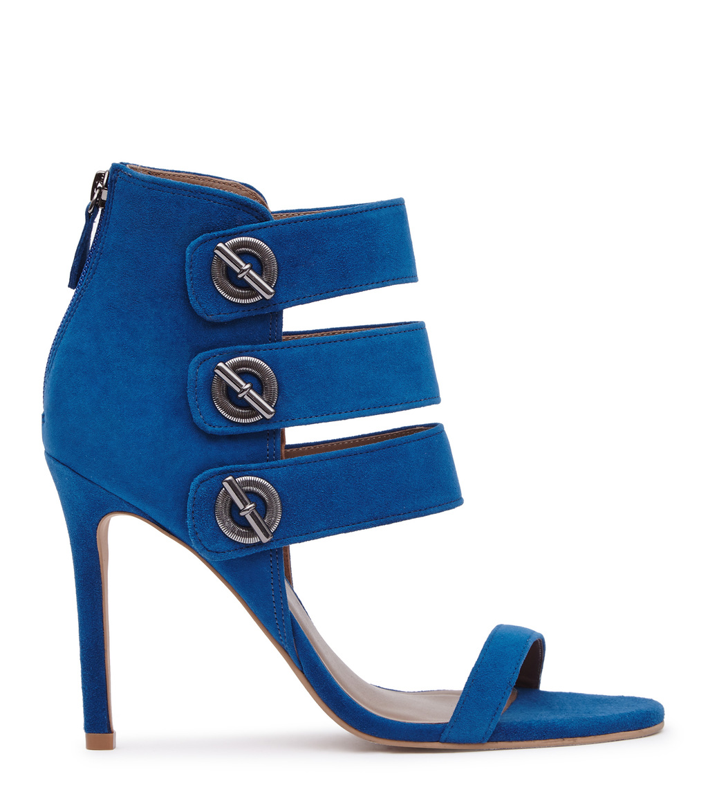 Hawthorne Suede Womens Triple Strap Sandals In Blue - predominant colour: royal blue; occasions: evening; material: suede; heel height: high; heel: stiletto; toe: open toe/peeptoe; style: strappy; finish: plain; pattern: plain; season: a/w 2016; wardrobe: event