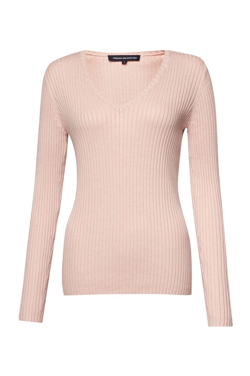 Bambino Rib V Neck Jumper, Pink - neckline: v-neck; pattern: plain; style: standard; predominant colour: blush; occasions: casual, work, creative work; length: standard; fibres: cotton - mix; fit: standard fit; sleeve length: long sleeve; sleeve style: standard; texture group: knits/crochet; pattern type: knitted - fine stitch; pattern size: light/subtle; wardrobe: basic; season: a/w 2016