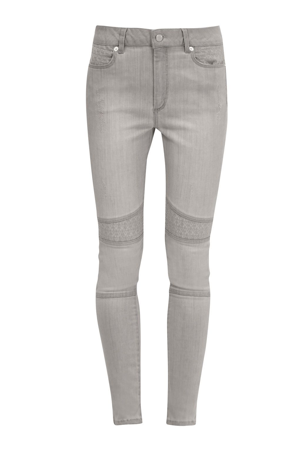 The Rebound Biker Stitch Jeans, Grey - style: skinny leg; length: standard; pattern: plain; pocket detail: traditional 5 pocket; waist: mid/regular rise; predominant colour: light grey; occasions: casual; fibres: cotton - stretch; texture group: denim; pattern type: fabric; season: a/w 2016