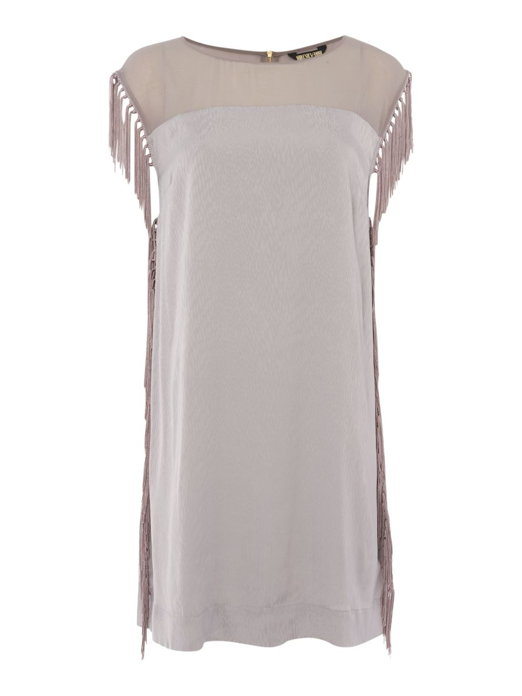 Tassel Side Detail Textured Dress, Light Grey - style: tunic; length: mid thigh; sleeve style: capped; pattern: plain; predominant colour: silver; occasions: evening; fit: body skimming; fibres: polyester/polyamide - 100%; neckline: crew; sleeve length: sleeveless; pattern type: fabric; texture group: other - light to midweight; embellishment: fringing; season: a/w 2016; wardrobe: event; embellishment location: sleeve/cuff