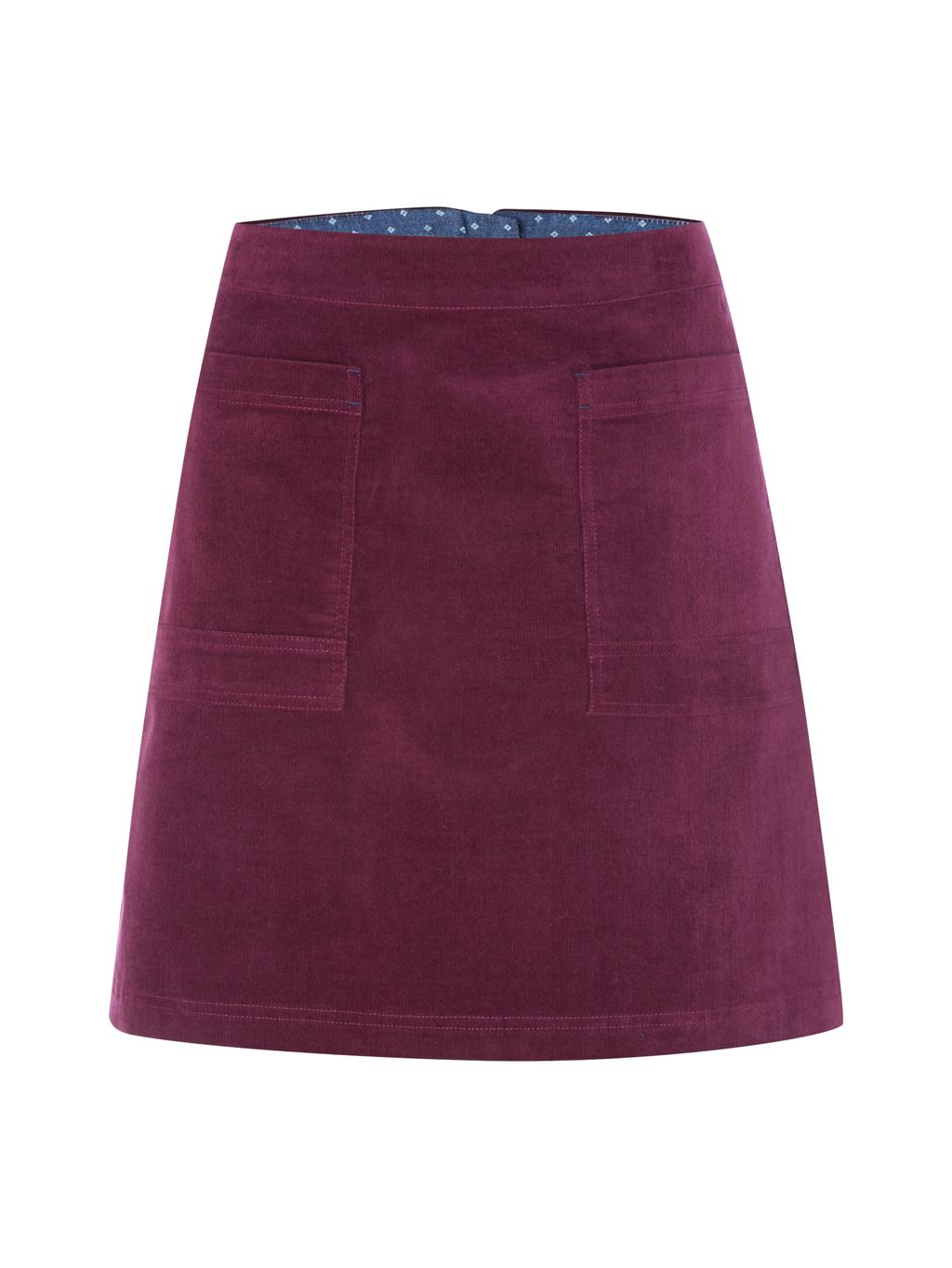 Coffee Cord Skirt, Purple - length: mid thigh; pattern: plain; fit: loose/voluminous; waist: high rise; predominant colour: magenta; occasions: casual; style: a-line; fibres: cotton - 100%; hip detail: subtle/flattering hip detail; texture group: corduroy; pattern type: fabric; season: a/w 2016; wardrobe: highlight