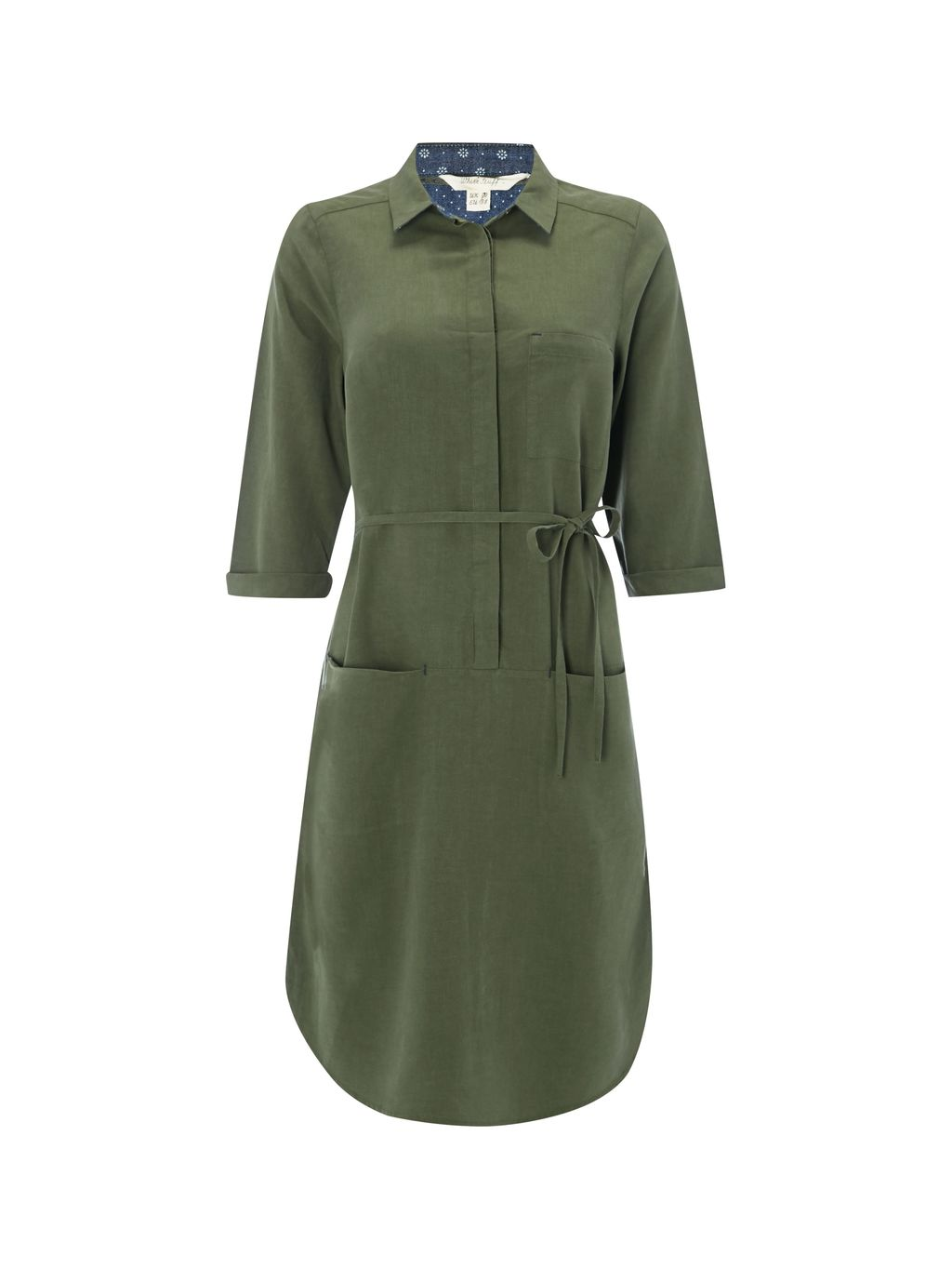 Utility Shirt Dress, Green - style: shirt; length: mid thigh; neckline: shirt collar/peter pan/zip with opening; pattern: plain; waist detail: belted waist/tie at waist/drawstring; predominant colour: khaki; occasions: casual, creative work; fit: body skimming; sleeve length: 3/4 length; sleeve style: standard; texture group: cotton feel fabrics; pattern type: fabric; fibres: viscose/rayon - mix; wardrobe: basic; season: a/w 2016