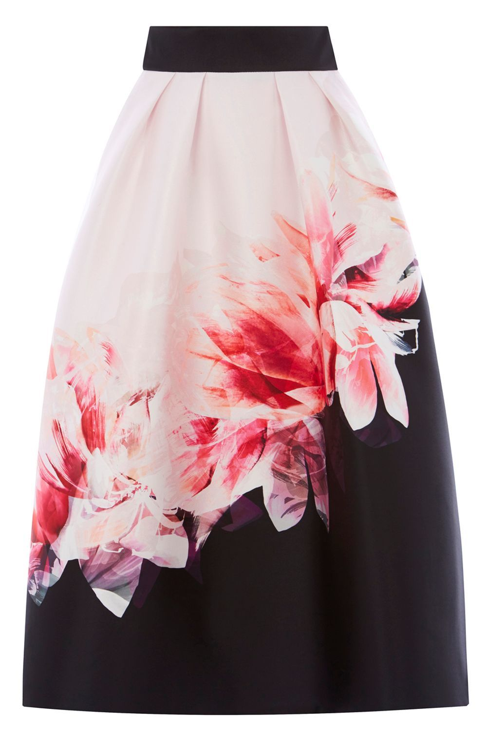 Osaka Print Skirt, Multi Coloured - length: below the knee; style: full/prom skirt; fit: body skimming; waist: high rise; secondary colour: blush; predominant colour: black; fibres: polyester/polyamide - 100%; occasions: occasion; hip detail: subtle/flattering hip detail; pattern type: fabric; pattern: florals; texture group: other - light to midweight; pattern size: big & busy (bottom); season: a/w 2016; wardrobe: event