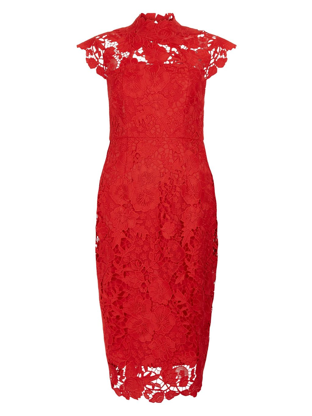 Audrey Lace Dress, Red - style: shift; sleeve style: capped; neckline: high neck; bust detail: sheer at bust; predominant colour: true red; occasions: evening; length: on the knee; fit: body skimming; fibres: polyester/polyamide - 100%; sleeve length: short sleeve; texture group: lace; pattern type: fabric; pattern size: standard; pattern: patterned/print; season: a/w 2016; wardrobe: event