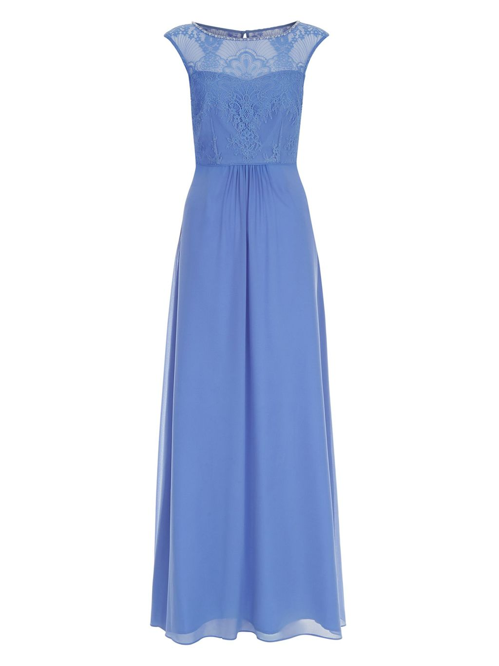 Harmony Dress, Blue - pattern: plain; sleeve style: sleeveless; style: maxi dress; bust detail: sheer at bust; predominant colour: pale blue; occasions: evening; length: floor length; fit: body skimming; fibres: polyester/polyamide - 100%; neckline: crew; hip detail: soft pleats at hip/draping at hip/flared at hip; sleeve length: sleeveless; texture group: sheer fabrics/chiffon/organza etc.; pattern type: fabric; embellishment: lace; season: a/w 2016; wardrobe: event